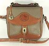 Authentic Dooney and Bourke All Weather Leather R703 Vintage Square Carrier in Taupe and British Tan
