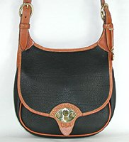 Authentic Dooney and Bourke All Weather Leather Cavalry Saddle Bag black and British tan