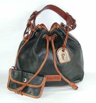 Authentic Dooney and Bourke R759 Pebble Drawstring Bag black and British tan
