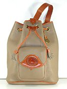 Authentic Dooney and Bourke Large Vintage Drawstring Sling Bag R762 All Weather Leather Taupe and British Tan