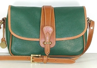 Authentic Dooney and Bourke All Weather Leather R54 Large Equestrian Shoulder Bag in fir and British tan