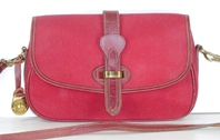 Authentic Dooney and Bourke red fabric Small Equestrian shoulder bag