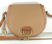 Authentic Dooney and Bourke All Weather Leather Small Horseshoe Bag in Wheat and British Tan
