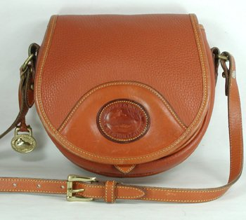 Authentic Dooney And Bourke All Weather Leather Vintage Snap Saddle Bag British Tan