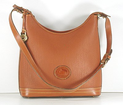 Authentic Dooney And Bourke All Weather Leather Small British Tan Hobo Bag R151