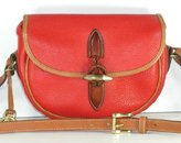 Authentic Dooney and Bourke All Weather Leather Small Loden Saddle Bag R66 in Red and British Tan