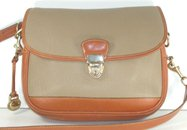 Authentic Dooney and Bourke All Weather Leather Lock Flap Bag R160 in taupe and British Tan