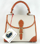 Authentic Dooney and Bourke All Weather Leather bone and British tan Small Carpet Bag