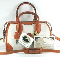 Authentic Dooney and Bourke All Weather Leather R90 Small Gladstoner Bag bone and British tan
