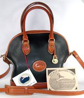 Authentic Dooney and Bourke All Weather Leather R04 Small Norfolk Case black and British tan