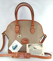 Authentic Dooney and Bourke All Weather Leather R04 Small Norfolk Case taupe and British tan