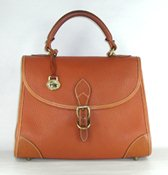Authentic Dooney and Bourke All Weather Leather Medium Carpet Bag British Tan