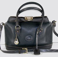 Authentic Dooney and Bourke All Weather Leather Hand-Fitted Satchel Doctor Bag Navy