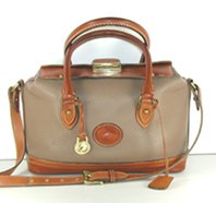 Authentic Dooney and Bourke All Weather Leather Hand-Fitted Satchel Doctor Bag taupe