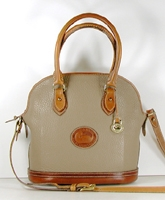 Authentic Dooney and Bourke All Weather Leather Small Norfolk Case R04 Taupe and British Tan
