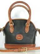 Authentic Dooney and Bourke All Weather Leather Mini Norfolk Case R06 Black and British Tan