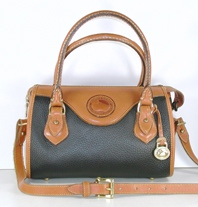 Authentic Dooney and Bourke All Weather Leather Small Classic Satchel Black and British Tan