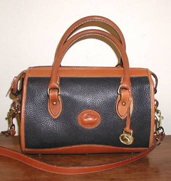 Satchel R110 Dooney & Bourke Satchel Handbag Navy Blue and British Tan