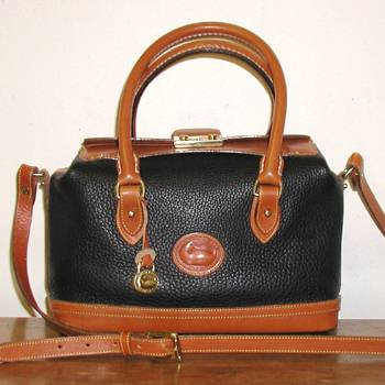 Dooney and Bourke R03 Black and British Tan Handfitted Doctor Bag ...