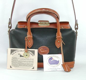 Authentic Dooney and Bourke Doctor Bag Satchel Black and British Tan