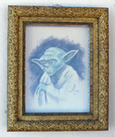 vintage Yoda from Star Wars portrait in ornate frame