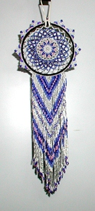 Authentic Native American Lakota Beaded Blue and Pink Dreamcatcher