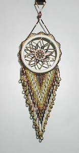 Authentic Native American Lakota Beaded brown and gold Dreamcatcher