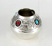 Authentic Native American  sterling silver and turqjuoise and coral seed pot by Navajo Wesley Whitman