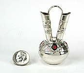 Autnentic Native American Sterling Silver and Turquioise Miniature Wedding Vase by Navajo Wesley Whitman