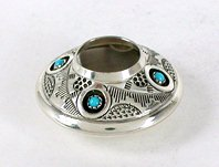 Authentic Native American  sterling silver and turqjuoise seed pot by Navajo Wesley Whitman