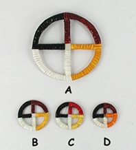 Authentic Native American Lakota Indian porcupine quill wrapped four colors Medicine Wheel