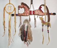 Native American Indian animal sticks and wall hangings