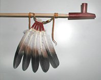 Authentic Native American five feather pipe drops by Lakota artist Alan Monroe