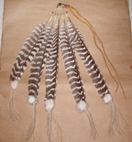 Authentic Native American turkey feather pipe drop by Lakota artist Alan Monroe