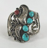 Nickel silver, turquoise and coral bracelet 6 3/8 inch