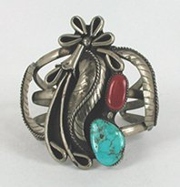 Nickel silver, turquoise and coral bracelet 6 1/2 inch