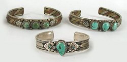Three vintage turquoise bracelets 7 to 7 1/2 inches