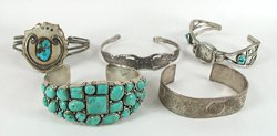 Five vintage bracelets 6 1/4 to 7 1/2 inches