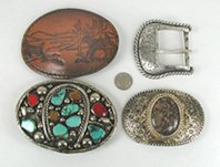 Lot of four belt buckles