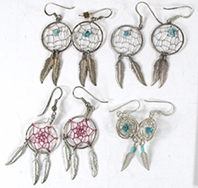 four pair of dreamcatcher earrings