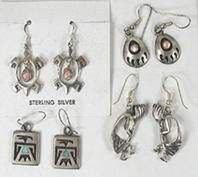 four pair of earrings, turtles and more