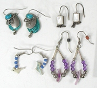 four pair of wire earrings malachite and more