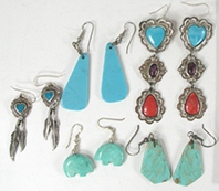 five pair of wire earrings turquoise and more