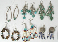 Bargain Barn Six Pairs wire earrings, turquoise, beads, heishi, lapis, sterling silver