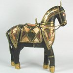 Wooden horses with inlaid armour
