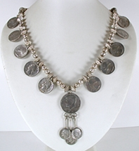 vintage Presidents necklace of sterling silver beads and vintage coins