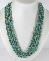 vintage turquoise chip 5-strand necklace