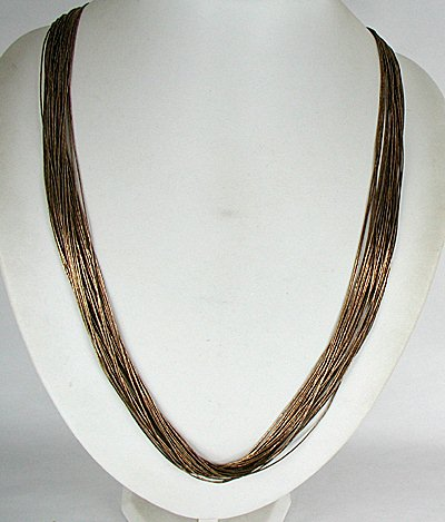 314eb35390c94 Vintage Sterling silver liquid silver gold necklace 30-strand 30 inches