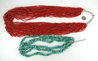 lot of two red necklaces from the Bargain Barn