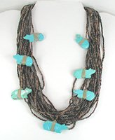 vintage 19-Strand heishi necklace with turquoise bears